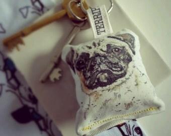 Animal Keyring, Pug, Handbag accessory, Key holder, Animal, British, Watercolour animal, personal accessory, Pets, Pug accessory, Dogs