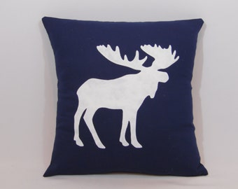 Custom made navy blue and white moose pillow cover/sham - multiple sizes to choose