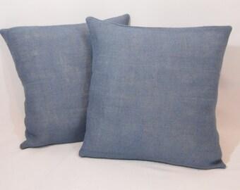 Custom made cornflower/denim blue burlap pillow cover/sham. Multiple sizes to choose from.