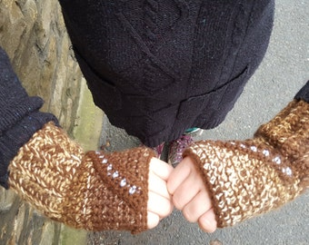 MADE TO ORDER Chewbacca Star Wars Inspired Crochet Fingerless mittens gloves