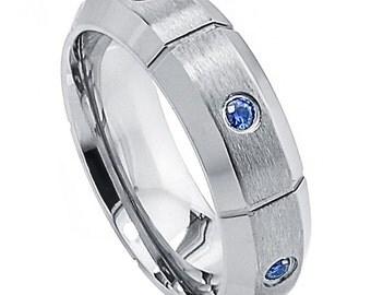 Wedding Band. Blue Sapphire Titanium Ring  75% off.