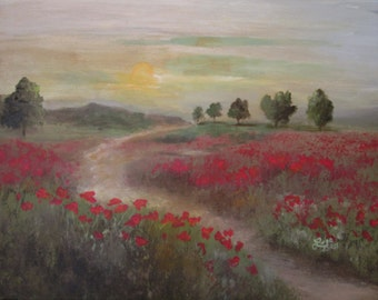Original Field of Red Poppies Landscape painting 16x20 Canvas