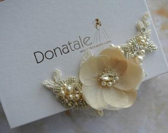 Bridal hair accessories -Floral hair piece- Floral hair comb - Bridal Hair Comb- Bridal Headpiece -Wedding headpiece-  AMBER