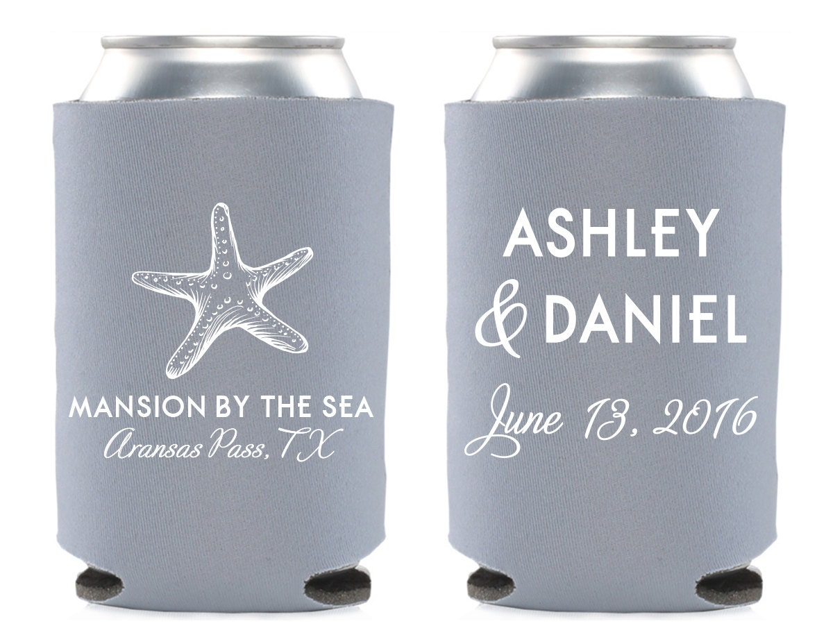 Custom Can Coolers ~ Custom wedding can cooler favor starfish