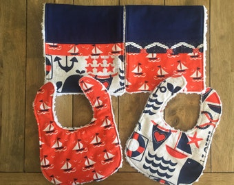 4 pc Bibs and Burp Cloth  Set --Ahoy Matey by Michael Miller