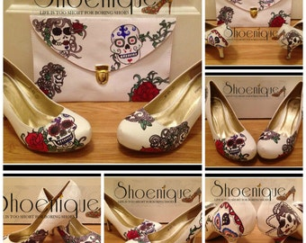 Candy Skulls Day of the Dead Mexico Shoe High Heels Size 3 4 5 6 7 8 Platform UK Painted Custom Bespoke
