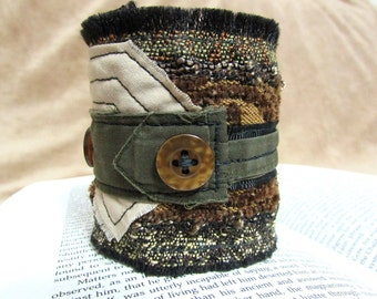 "Quilted Textile Art Cuff, Fabric Bracelet, Layered Arm Band, Button Cuff, Green & Brown, Tapestry Jewelry Cuff ""Bark from the Branches #12"""