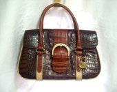 Vintage Brown Embossed Crocodile Leather Brahmin Handbag / Brahmin Stamped Exotic Leather Top Handle Bag Made in the USA