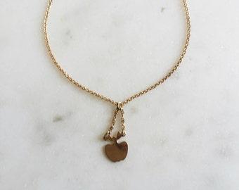 "Dead Stock VTG Delicate Gold Apple Pendant Necklace 14.5"""