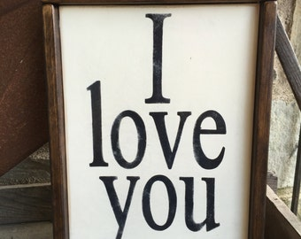 Hand painted | rustic sign | Farm house | I love you | family sign | gallery wall Rustic decor | white | black | Fixer Upper