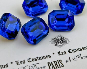 10x8mm Octagon Vintage Sapphire Blue Rhinestone - RARE Gorgeous Faceted Czech Gem 1950's TTC - High Quality - 12pcs