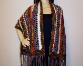 Chocolate and Blue Bohemian-Hippie-Gypsy Multifiber Fringed Shawl