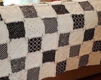 Bold black and white adult sized rag quilt throw