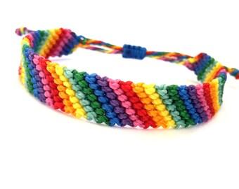 Friendship Bracelet, Surf Bracelet, Rainbow Macrame Bracelet