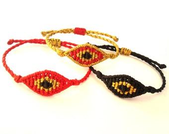 Small Evil Eye Bracelet, Macrame Bracelet, Evil Eye Macrame Bracelet