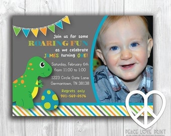 Dinosaur First Birthday 5x7 Invitation with Photo