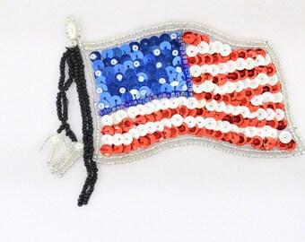 "American Flag Sequin Applique 4.25"""