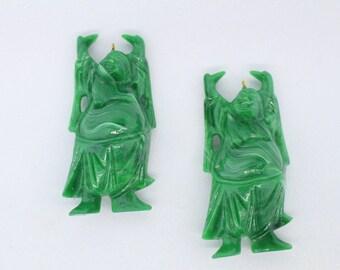 "2 Plastic Jade Buddha Pendants (3.75"" each)"