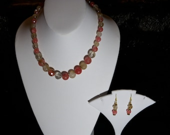 A Lovely Cherry Blossom Quartz Necklace and Earrings. (201648)