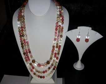 A Beautiful Three-tier Cherry Blossom Quartz Necklace, Stretchy Bracelet and Earrings. (2016131)