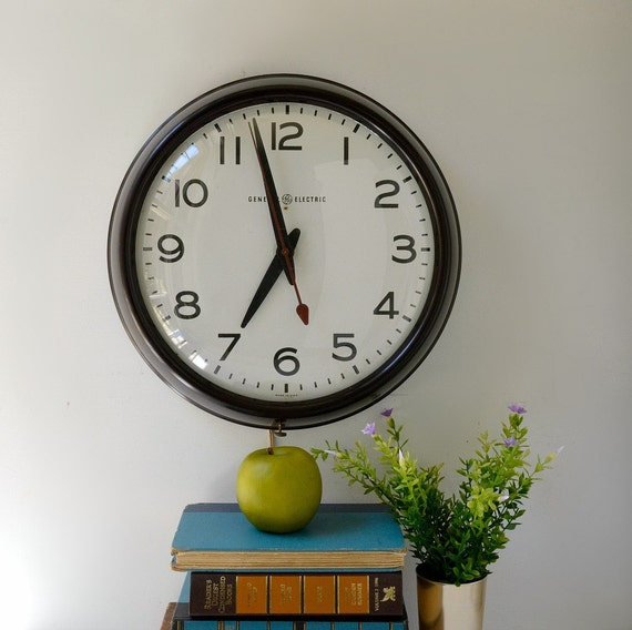 Vintage School Wall Clock By General Electric Schoolhouse