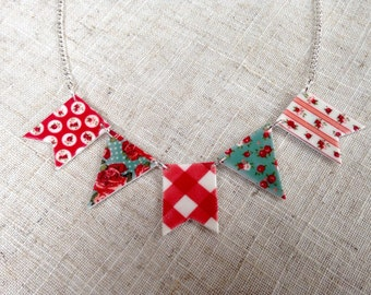 Bunting necklace - Bunting flags - Patterned necklace - Summer necklace - Bright necklace - Gift for her