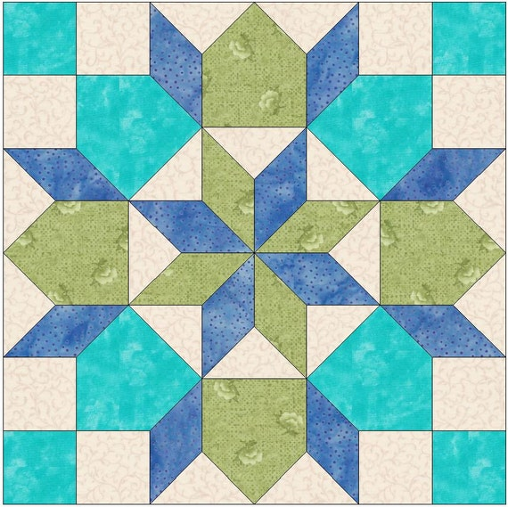 Rolling Star 2 Paper Piece Template Quilting Block Pattern PDF