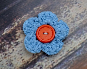 Flower Hair Clip- Accessory - Blue and Red