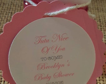 Personalized Favor Tags 2 1/2'', Baby Girl Shower  tags, Thank You tags, Favor tags, Gift tags, Rustic Tag, tutu, nail polish