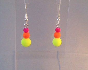 Party earrings, Neon trio drop earrings on silver plated fishhook earring wires