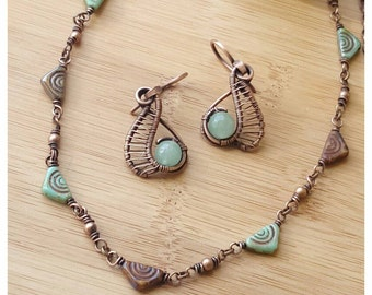 Bohemian jewelry set aventurine earring wire necklace bohemian tribal jewelry wire wrapped copper jewelry set wire necklace wire earring