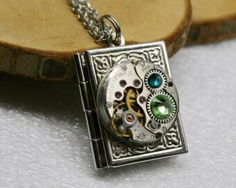Steampunk  jewelry. Steampunk Book  pendant /  locket /  necklace , Steampunk jewelry