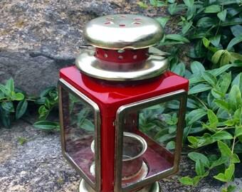 Vintage Red & Gold Metal Lantern, Retro, Farmhouse, Mid Century, Cottage, Americana, Candleholder, Nautical Lighting