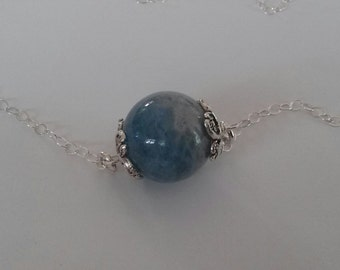 Sterling Silver Necklace with Amazonite Stone Pendant and Sterling Silver Chain
