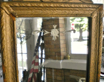 Antique Architectural Barbola Gesso Etched Wooden Framed Mirror