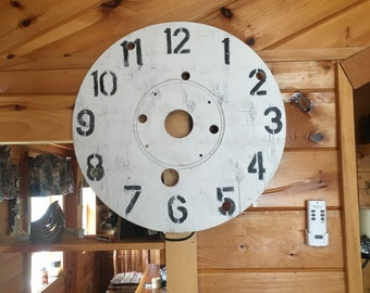 Distressed Wood Cable Spool Clock