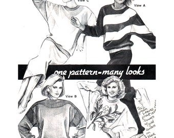 Stretch & Sew Sewing Pattern 371 Designer Sweatshirts  Size:  30-46  Uncut
