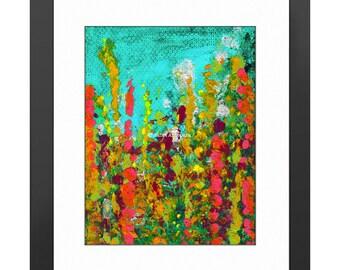 Green Garden Art Print. Abstract Art, Modern Art, Floral Painting, Knife Painting, Home Decor, Colorful Painting, Wild Flowers, Abstract Art