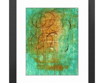 Morning Coffee Art Print. Java, Barista, Cafe Art, Coffee Lovers, Kitchen Decor, Kitchen Art, Dining Room Decor, Teal Art, Coffee Rings