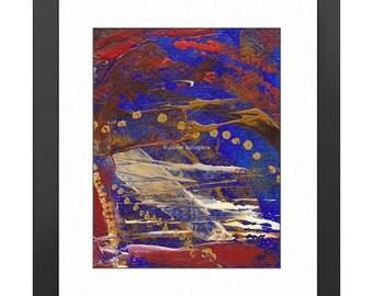 Sunset Blvd Art Print. Abstract Art, Modern Art, Abstract Painting, Blue, Hollywood Art, Paint Splatter, Knife Painting, California Wall Art