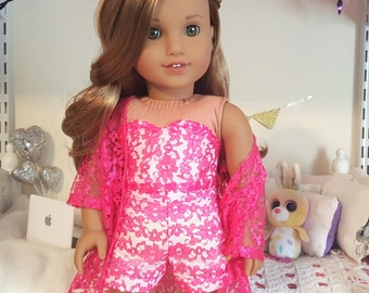 18 inch doll pink lace bustier, shorts and kimono