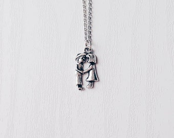 Silver Kissing Couple Necklace | I Love You | Antique Silver | Gift | Boho Jewelry | Girlfriend | GF | For Her