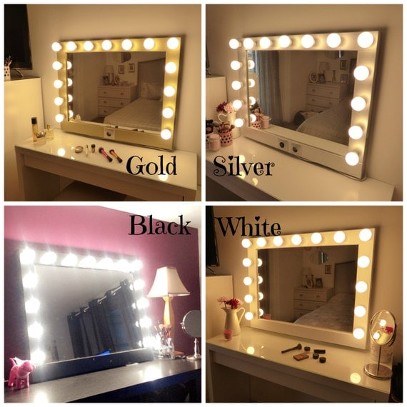 Lighted Vanity Mirror Large : Hollywood lighted vanity mirror-large makeup mirror with