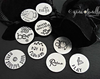 Personalized Pocket Coin, Inspirational Words, Good Luck Charm, Pocket Token, Worry Stone, Encouragement Gift, Graduation Gift, Pocket Charm