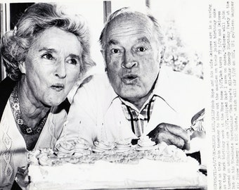 """Vintage Wire photograph Bob Hope, Delores Hope - """"Birthday"""" - Toluca Lake, Ca - dated: 5/27/80"""