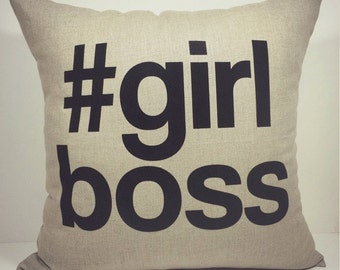 girlboss, girl boss raw linen pillow cover