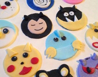 Edible Fondant  Animation Pokeman Inspired Cupcake Toppers