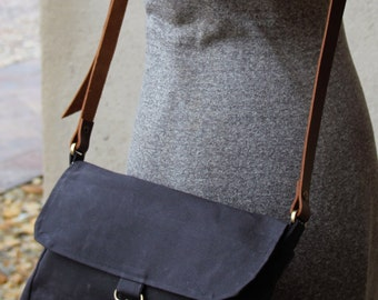 Black waxed canvas purse - waxed canvas tote - waxed canvas small messenger