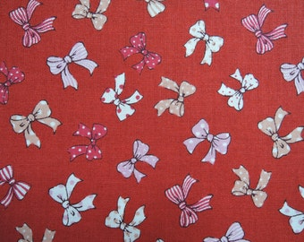 "Fat Quarter of 2016 Lecien Old New 30's Collection Spring Ribbons in Red. Approx. 18"" x 22"" Made in Japan"