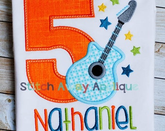 Rock Star Birthday Applique Numbers Machine Applique Design